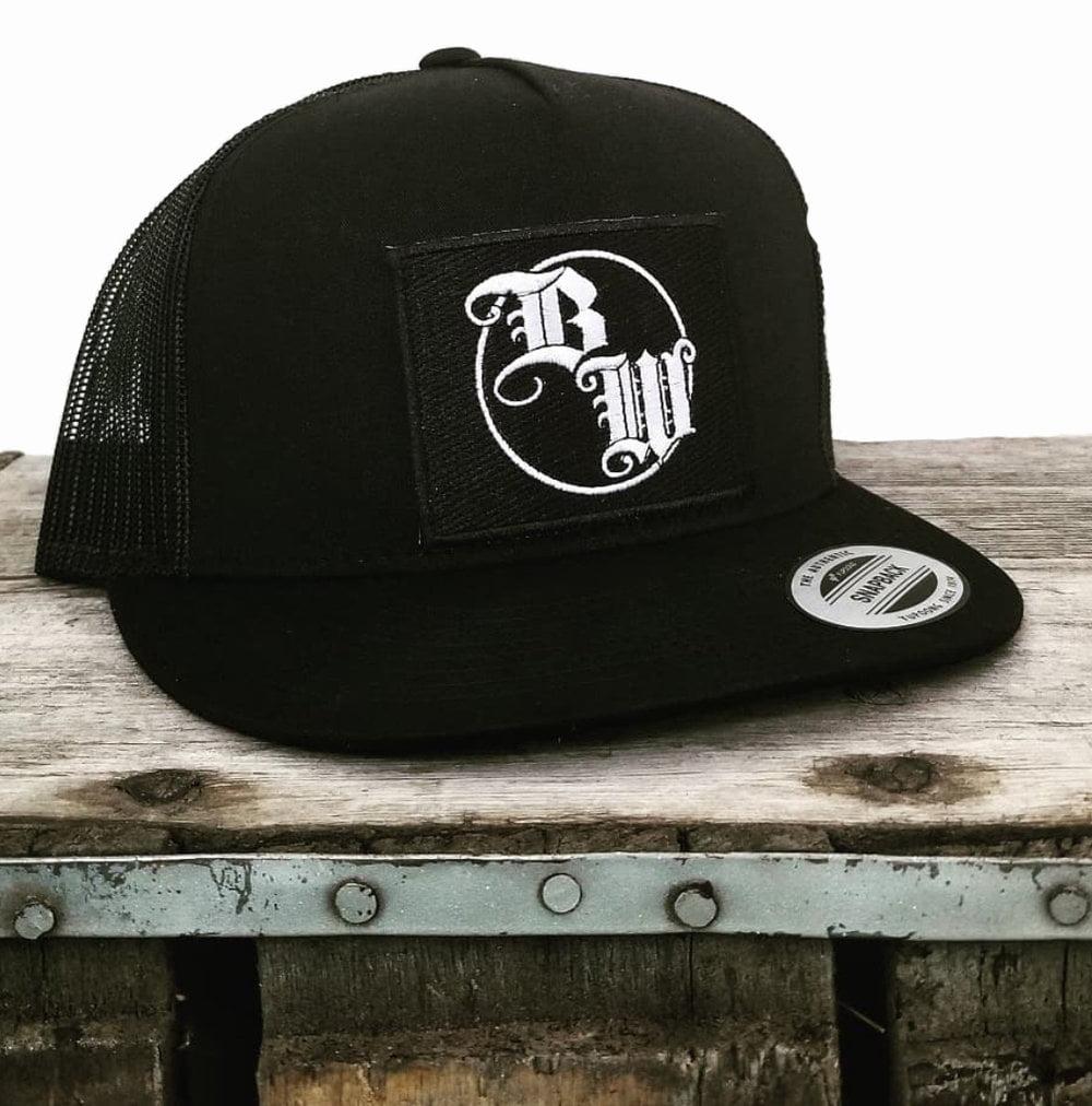Burnt Whiskey Black Snapback Hat BW Logo
