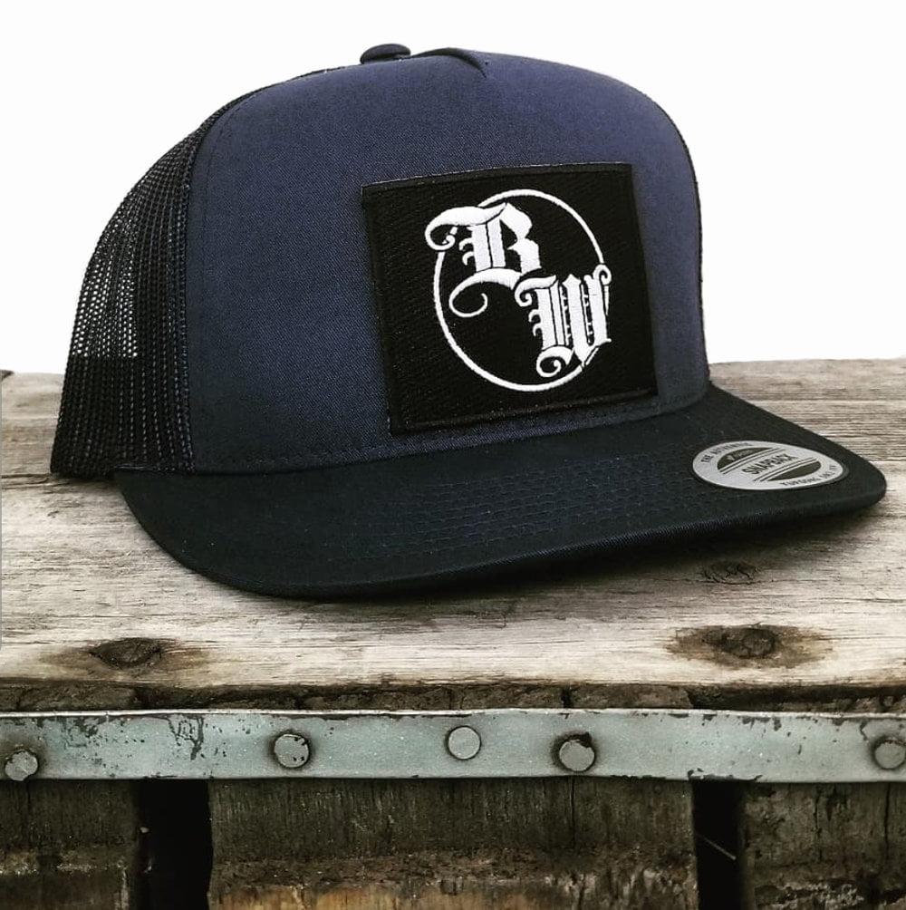Burnt Whiskey Blue Snapback Hat BW Logo